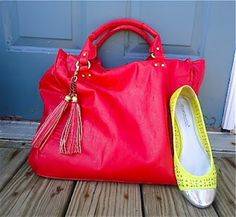 Red tote, neon yellow flats