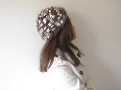 Fall fashion Hat grey brown white hand knitted in by Notforeat, €22.00