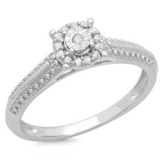 Thanks for Sharing!  0.10 Carat (ctw) 10K White Gold Round Diamond Ladies Bridal Halo Style Cluster Promise Engagement Ring - Dazzling Rock #https://www.pinterest.com/dazzlingrock/