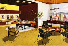 Mid-century modern office. Inspiration for VX: Business. svbscription.com