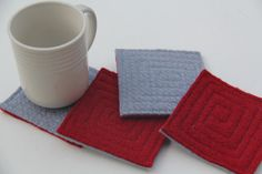 Set of 4 100% wool coasters.    These coasters are made from 100% wool sweaters that have been felted. The felted process makes the fibers