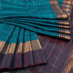 Handwoven Gadwal Silk Saree With Zari Checks 10019852 - AVISHYA.COM