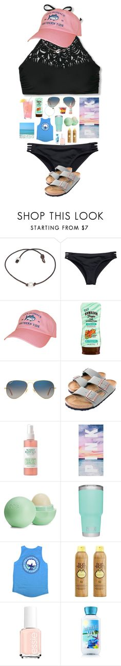 """destin in 14 days😆😆😆"" by sarah-grace-m ❤ liked on Polyvore featuring H&M, Southern Tide, Hawaiian Tropic, Ray-Ban, Birkenstock, Eos and Sun Bum"