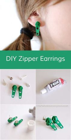 DIY Earrings and Homemade Jewelry Projects - Zipper Earring - Easy Studs, Ideas with Beads, Dangle Earring Tutorials, Wire, Feather, Simple Boho, Handmade Earring Cuff, Hoops and Cute Ideas for Teens and Adults http://diyprojectsforteens.com/diy-earrings