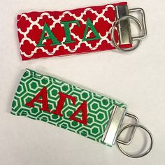 Alpha Gamma Delta (AGD) Fabric Ribbon Sorority Keychain: $15.00. Wristlet. Assorted colors & patterns. Great Greek Gift.