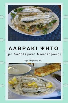 Lah-VRAH-ki psee-TOH) is grilled sea bass. Greek fresh fish is so delicious that actually we just add a few ingredients, such as salt, pepper and oregano before grilling it. We then serve it with some ladolemono on top. Greek Recipes, Fish Recipes, Seafood Recipes, Quick Healthy Meals, Healthy Eating, Healthy Recipes, Baked Sea Bass, Baked Fish, Greek Cooking