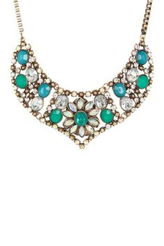 Floral Stone Encrusted Bib Necklace