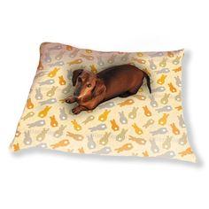 Uneekee Bouncing Bunnies Yellow Dog Pillow Luxury Dog / Cat Pet Bed