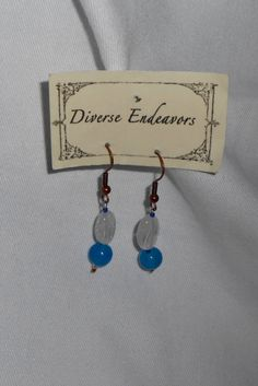 Sapphire, Rock Crystal and Copper Earrings by DEJewelryandGifts on Etsy