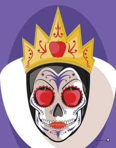 Evil Queen Sugar Skull Print 11x14 print by NutCracks on Etsy, $19.00
