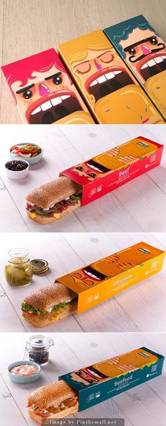 MO'MEN Packaging it's about a character design that based on Packaging in a form of cubism as it describe the figure of the character . to suit the packaging well. Gourmet Sandwiches, Sandwich Bar, Party Sandwiches, Burger Bar, Sandwich Cookies, Cool Packaging, Food Packaging Design, Packaging Design Inspiration, Brand Packaging