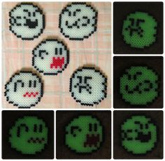 A set of cute boo expressions I made with midi Hama Beads! They glow in the dark too.unfortunately they loose their glow relatively quickly even after. (Glow in the Dark Hama Bead Art) Perler Beads, Perler Bead Mario, Fuse Beads, Perler Bead Designs, Pearler Bead Patterns, Perler Patterns, Pixel Art, Halloween Beads, Iron Beads