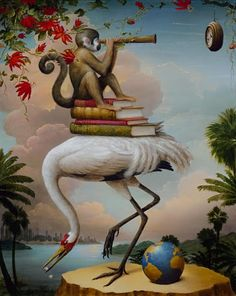 Kevin Sloan. I would never copy another artist work but this piece gives me an idea to incorporate books to the painting.