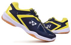 Yonex Unisex Badminton Shoes Power Cushion Navy Yellow Racquet  SHB-35EX Wide #YONEX Yonex Badminton Shoes, Cushions, Unisex, Navy, Yellow, Best Deals, Sneakers, Throw Pillows, Hale Navy
