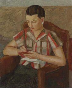 Ángel Zárraga (1886-1946) - Retrato de Mujer con Libreta, 1925