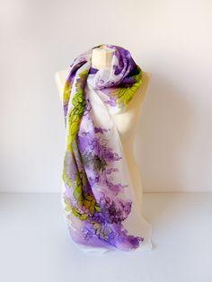 Wisteria silk scarf hand painted by Luiza Malinowska #mikulul