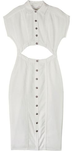 wren white open front shirt dress. I'd replace the buttons.