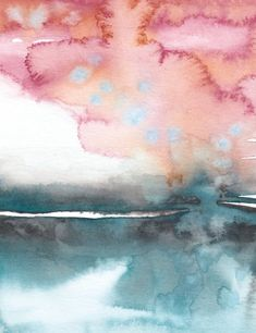 Modern Rust Abstract Watercolor Landscape Art Print / Teal Ocean Watercolor Wall Art / Turquoise Abstract Seascape for Nature Lover Abstract Watercolor Art, Watercolor Artwork, Watercolor Landscape, Painting Art, Watercolor Ideas, Watercolor Artists, Painting Lessons, Abstract Oil, Abstract Paintings