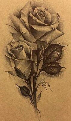 4ea749f65 Rose Drawing Tattoo, Tattoo Sketches, Tattoo Drawings, Rose Drawings, Rose  Tattoos,