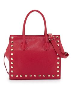 Jaden Studded Faux-Leather Tote Bag, Red by Neiman Marcus at Neiman Marcus Last Call.