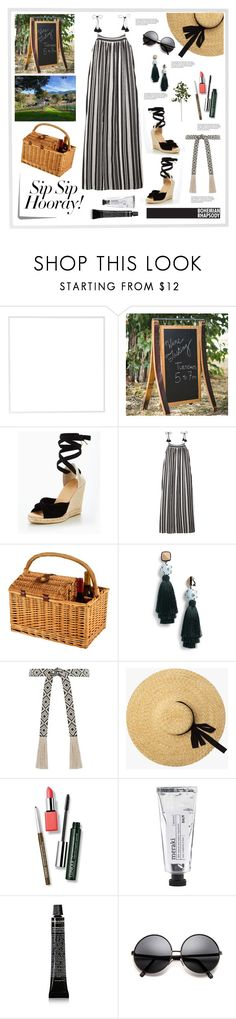"""Sip Sip Hoorray!"" by kanares ❤ liked on Polyvore featuring Menu, Office, Madewell, Picnic at Ascot, Tory Burch, Zimmermann, Clinique, Post-It, Napa Home & Garden and country"