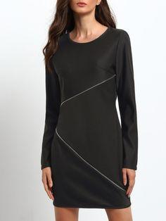 Black Zipper Sheath Dress