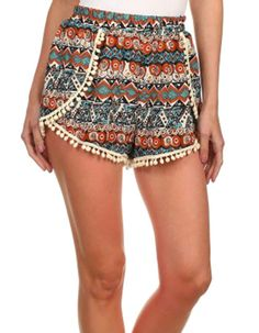 Summer Shorts with Pompoms, Mexico Fiesta