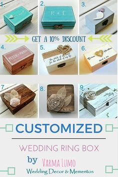 Customized wedding ring box ! Tell us you found us on Pinterest and get a 10% discount on your orders ! https://www.etsy.com/shop/VarmaLumo?ref=hdr_shop_menu§ion_id=15667849