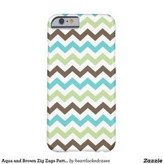 Aqua and Brown Zig Zags Pattern Barely There iPhone 6 Case