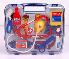 SZJJX Deluxe Puzzle Simulation Medicine Box Doctor Toys Set Kids Pretend Play Doctor Set Doctor Nurse Medical Kit Playset for Kids Child Care Box Doctor Tools Toys - Blue * Find out more about the great product at the image link.