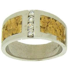 Men's Custom Alaskan Gold Nugget and Diamond Wedding Band. Style#: GRW351WG - Gold Nugget Jewelry by Alaskan Gold Rush Fine Jewelry - Fairbanks, Alaska - 907-456-4991 - www.goldrushfinejewelry.com