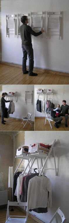 cool idea - store extra chairs on the wall to save space or use as shelf and hang clothes to dry.