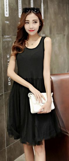 """Buy """"Sleeveless a-line dress with mesh skirt"""" with Free Worldwide Shipping  at Korean. Browse and shop for hundreds of Asian fashion items from Korea  and ... 4330fdfac724"""