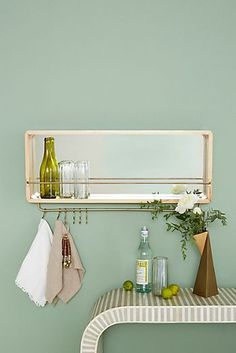 Scandinavian Home Accessories Small Spaces - perfect presents for small spaces Lighted Wall Mirror, Mirror With Shelf, Bar Shelves, Wood Shelves, Home Bar Accessories, Home Bar Decor, Interior Decorating, Interior Design, Decorating Tips