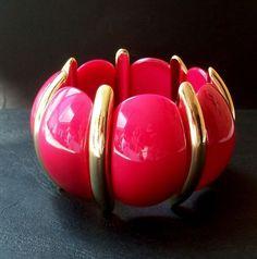 Armband Armreif Pink Lucite Plastik True Vintage Plastic Bracelet 70er elastisch