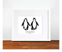 Baby Wall Art  Baby Footprint Penguins  Black by PitterPatterPrint, $30.00