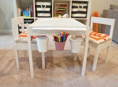 Freckles Chick - basements - Ikea Expedit Shelving Unit, The Container Store Rugby Stripe Bin, Ikea Latt Children's Table and Chairs, playro...