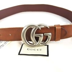 Authentic Brown Leather Gucci Belt w Double G Buckle 406831 Size 85   34 No 57bcdad0275