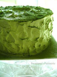 Green tea chiffon cake in metric measurements.