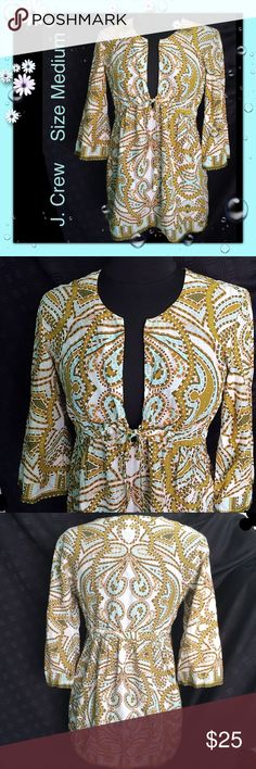 "J. Crew / Size Medium / Peasant Blouse 100% cotton J. Crew / Size Medium / Peasant Blouse 100% cotton / Approx Measurements: Bust 40"" & Length 29"" / FABULOUS PRINT!  Please feel free to make an offer - Enjoy BIG discounts on bundles & save $$$ on shipping! I package safely & ship fast.  TY & Happy Poshing! 💜💜💜 C1 J. Crew Tops Blouses"