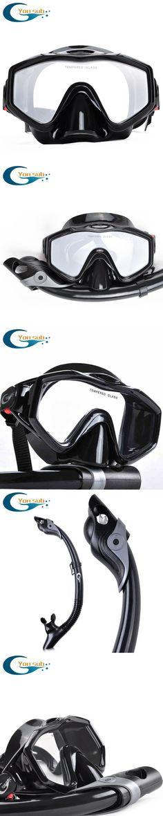silicone tempered glass professional Scuba  Diving Equipment Diving Mask + Dry Snorkel Set black #scubadivingequipmentmasks