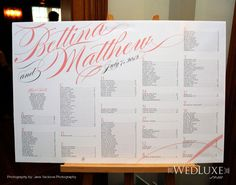 Seating chart wedding! Mary Anne... Love the alphabetical order! So much easier to find your name
