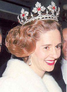 The Spanish Wedding Tiara w/ rubies  worn by HM the Dowager Queen Fabiola of Belgium, born a Spaniard.