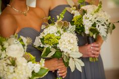 Green and white bridesmaids bouquets of beautiful wildflower florals - Lillie Jane's Floral - Jerrod Brown Studios
