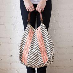 Rosanna Ikat Coral & Grey Handbag
