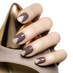 get to the point by essie - a pointy-toe nail art look has all the right fashion angles in well-appointed smoky plush taupe and soft sandy beige.