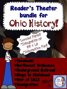 Attention:  Ohio Social Studies Teachers!  Make those standards come ALIVE with these 6 ready-to-use, leveled plays featuring the NW Ordinance, the Underground Railroad, Tecumseh, Steps to Statehood, the War of 1812 and Immigration!  Save up to 40% when buying this bundle! https://www.teacherspayteachers.com/Product/Readers-Theater-Bundle-of-Ohio-Social-Studies-Scripts-4th-grade-2628681