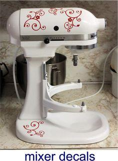 Kitchenaid kitchen mixer vinyl decals swirl and flower. $6.75, via Etsy.
