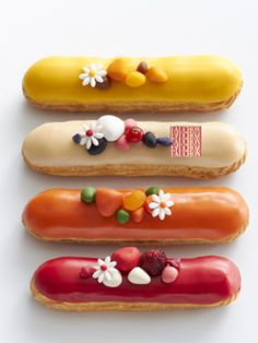 Delightfully pretty eclairs that would be wonderful for a garden party dessert spread. #eclairs #pastry #food #dessert