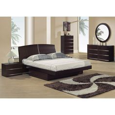 Aria Glossy Maple Platform Bedroom Set